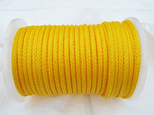 10MM x 65 Metre Yellow 16 Plait Single Braided PolyPropylene Rope - PP Hollow